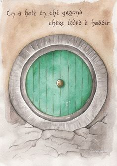 'Back to Bag End' by JadeJonesArt.  Watercolour painting of the door to Bilbo Baggins' hobbit hole from the books and movies Hobbit and Lord of the Rings.  https://www.etsy.com/uk/shop/JadeJonesArt