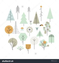 Super Ideas For Pine Tree Illustration Design Illustration Design Graphique, Plant Illustration, Oak Tree Drawings, Vector Design, Web Design, Icon Design, Design Ideas, Geometric Trees, Geometric Wall