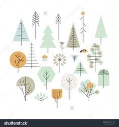 Super Ideas For Pine Tree Illustration Design Plant Illustration, Tree Textures, Vector Illustration, Tree Illustration, Tree Painting, Illustration Design, Design Elements, Tree Drawing, Tree Icon