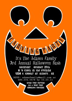 PRINTABLE PARTY INVITATION - Pumpkin Carving Party Invitation - Petite Party Studio. $15.00, via Etsy.