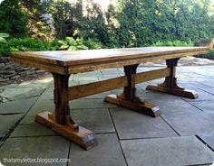 triple pedestal farmhouse table ; #furniture #AnaWhite