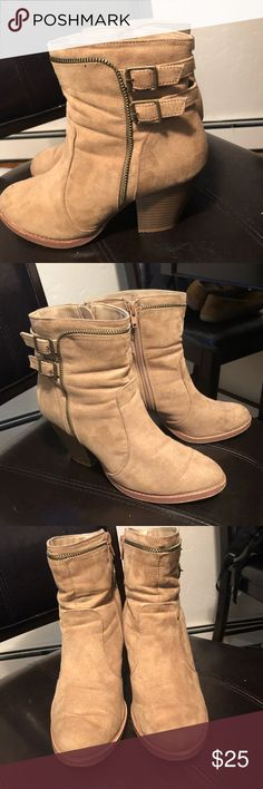 Tan Booties Tan Booties with buckle back and chunky heel. Very comfortable. Worn for a short period of time but no major cosmetic wear and tear. Shoes Ankle Boots & Booties