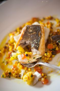 Pan-roasted Branzino with Fregola, Saffron and Cauliflower from Ristorante Caterina de' Medici at The Culinary Institute of America Medici, Caterina, Tuscan Style, I Want To Eat, Roasting Pan, Risotto, Cauliflower, Seafood, Restaurants