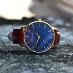 Classic Blue/G with 40 mm polished gold case, brushed navy blue dial and brown italian leather strap. Free shipping worldwide - www.bonvier.com #bonvier #watches #orologi