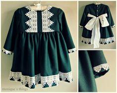 Vestido niña.Paño verde por Moniquesthingsshop en Etsy