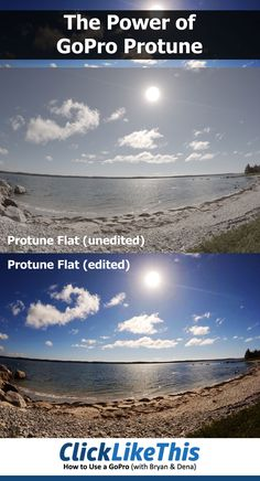How much difference does Protune make? The top image was shot in Protune Flat with the GoPro Black - as close to an unedited image as possible. The bottom image is the identical image - only edited. Because the protune setting limits the in-camera e Travel Photography Tumblr, Photography Beach, Dslr Photography Tips, Underwater Photography, Whimsical Photography, Rustic Photography, Wildlife Photography, Digital Photography, Wedding Photography
