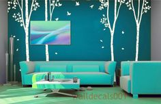 White tree decal on teal