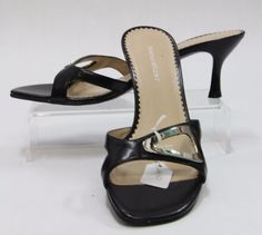NATURALIZER 865NA16 Black Leather Sling Back Slip On Sandal Shoes Sz 7.5, 460140 #Naturalizer #Slingbacks #Any