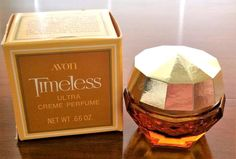 Vintage Avon Timeless Creme Perfume Faceted Amber Glass Vanity Jar .66 oz Empty #Avon