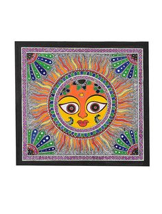 Sun Madhubani Painting -10.2in x 11in