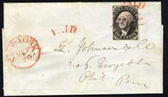 "UNITED STATES POSTMASTERS' PROVISIONALS New York, NY 1845 5c black on bluish wove paper, ""ACM"" unconnected variety"