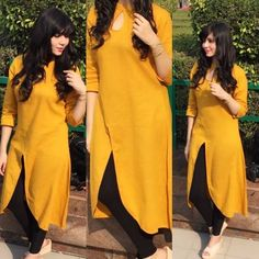 The grace and the confidence wraps around and falls flawlessly. NEW POST will be live on SUNDAY Stay tuned. Kurti Sleeves Design, Kurta Neck Design, Designs For Dresses, Dress Neck Designs, Blouse Designs, Kurta Designs Women, Salwar Designs, Lino Natural, Kurti Styles