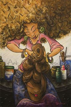 "Up Doin' It Up - Oil and Acrylic Painting --Ahh..now THIS piece! ""Up Doin it Up"" is a tribute to the many hours...READ MORE at: www.bytiffanibrown.com. Just click on the pic! =) Enjoy! - African American art - afro"