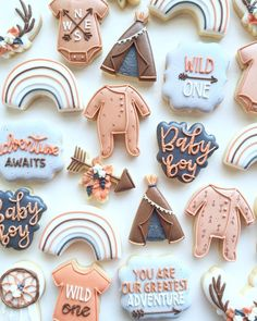 """Little Biscuit NZ - Taryn on Instagram: """"So in love with the colours my customer chose for this boho baby shower set! 🤩 It's been a huge week and a crazy weekend, so if you're…"""" Best Sugar Cookies, Fancy Cookies, Iced Cookies, Cut Out Cookies, Cute Cookies, Royal Icing Cookies, Baby Boy Cookies, Baby Shower Cookies, Fall Decorated Cookies"""