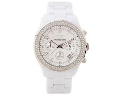 LADIES' WHITE ACETATE CHRONOGRAPH WATCH WITH CRYSTALS (MD01469786-WHITE)