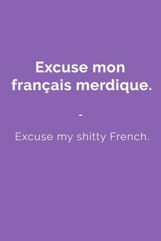 Excuse mon français merdique. - Excuse my shitty French. Find more Slang (with Audio!) in my book: ''Colloquial French'' - The most complete French Slang Ebook available. Learn more here: https://store.talkinfrench.com/product/french-slang-ebook/ Don't hesitate to share #french #slang #words #learnfrenchfast