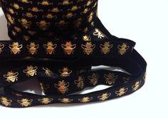 "5 yards black w/ metallic gold bumble bee printed 5/8"" fold over elastic FOE picclick.com"