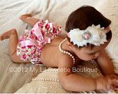 Vintage Floral Satin Bloomer Set- Headband and Bloomers- Newborn Outfit - Baby Girl Outfit - Toddler- Photo Prop- Valentines Outfit