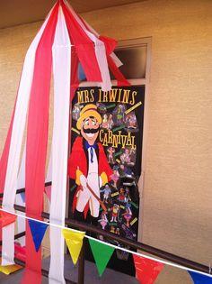 Carnival classroom door decorating