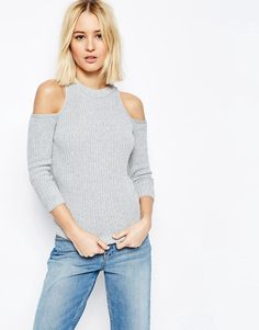 Image 1 of ASOS Sweater In Rib With Cold Shoulder