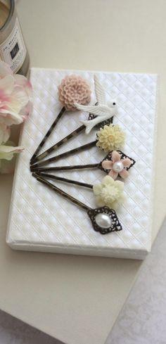 Pink and Ivory Hair Pins Clips, Ivory Mum, White Dove Swallow Bird, Pearl Flower Bobby Hair Pin, Bridal Wedding, Set of Six, 6 Hair Pins by Marolsha.