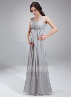 Empire Square Neckline Floor-Length Chiffon Maternity Bridesmaid Dress With Ruffle Beading Sequins (045004412) - JJsHouse