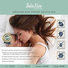 BELLA KLINE Premium Waterproof BOX SPRING Encasment - Hypoallergenic- Bed Bug Proof – – QUEEN Size