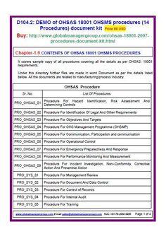 7 best ohsas 18001 certification documentation images on pinterest rh pinterest com ISO 18001 PDF OHSAS 18001 Standard