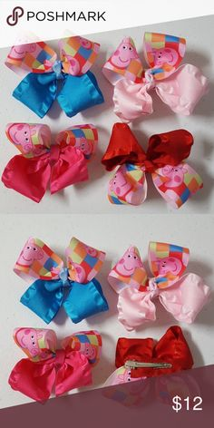"4 handmade Peppa Pig Hairbows Set of 4, size : 4"" approx. With alligator clip Attached Handmade Accessories Hair Accessories"