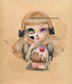 Douce solitude signé à tirage limité numéroté Simona Candini lowbrow pop surréaliste grands yeux sucre crâne cupcake art gothique
