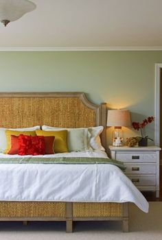 Love this master bedroom- Paint B.M. Spring Valley