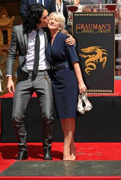 """Celebrity Friendships We Didn't See Coming...I love this one, Russell Brand & Helen Mirren.  Russell called Mirren """"sexy and enchanting""""."""