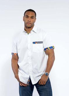 Dami Button-Up African Print Trim Shirt (Blue/Yellow/Orange)