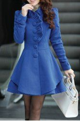 Stylish Stand-Up Collar Long Sleeve Solid Color Flounced Coat For Women (CADETBLUE,XL) | Sammydress.com Mobile