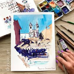 "Anastasia Mamoshina/ Youkki (@youkki_art) в Instagram: «A quick 35-min watercolor sketch. How I draw my sketches? "" #aquarell #art #painting #watercolor #sketch #paint #painting #sketch #drawing #sketching #sketchbook #travelbook #arch_more #archisketcher #sketchaday #sketchwalker #sketchcollector #artbook #artjournal #traveldiary #topcreator #usk #urbansketchers #urbansketch #скетчбук #скетч #скетчинг #pleinair #aquarelle #watercolorsketch #usk #architecture"