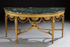 George III Style Giltwood Pier Table | From a unique collection of antique and modern demi-lune tables at https://www.1stdibs.com/furniture/tables/demi-lune-tables/