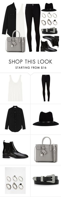 """""""Style #10671"""" by vany-alvarado ❤ liked on Polyvore featuring The Row, AG Adriano Goldschmied, Yves Saint Laurent, rag & bone, Alexander Wang and ASOS"""
