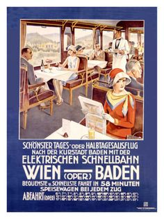 Solid-Faced Canvas Print Wall Art Print entitled Wien Baden,Vintage Poster, by Stieborsky Train Posters, Railway Posters, Vintage Travel Posters, Vintage Ads, Poster Vintage, Vintage Trains, Vintage Type, Wall Art Prints, Poster Prints