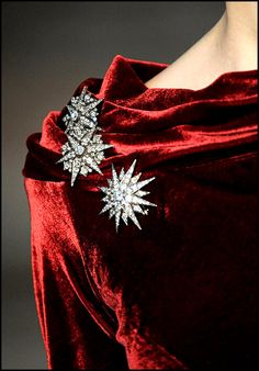 Ralph Lauren detail, Red velvet with sparkle brooches Non Plus Ultra, Shades Of Red, Fashion Details, Lady In Red, At Least, Ralph Lauren, Glamour, Fancy, Jewels