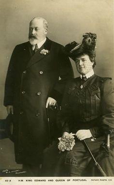 SM a Rainha D. Amélia de Portugal e o Rei D. Eduardo VII de Inglaterra. Casa Real: Orleães e Bragança Editorial: Real Lidador Portugal Autor: Rui Miguel