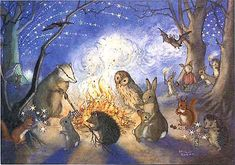 Bonfire Night by Molly Brett Woodland Animals, Woodland Creatures, Forest Animals, Woodland Art, Woodland Critters, 4th Of July, Childrens Books, Bonfire Night, Forest Illustration