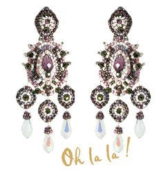 Swarovski and Gold Fill Statement Earrings Beaded by Esther Marker