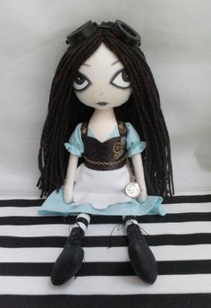 OOAK Steampunk Alice Art Rag Doll RESERVED for by ChamberOfDolls