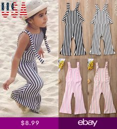 a6d4e17dd084 US Kids Baby Girls Off shoulder Stripe Romper Jumpsuits Trousers Outfits  Clothes