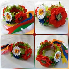 Made of satin ribbons. Flowers made of satin ribbon and glass middle. Ribbons, Hair Accessories, Flowers, Etsy, Grinding, Hair Accessory, Flower, Blossoms