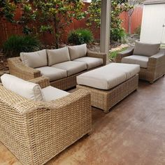 Chatham 4 Piece Sofa Seating Group With Cushion - patio Outdoor Furniture Australia, Rustic Outdoor Furniture, Outdoor Sofa Sets, Patio Furniture Sets, Outdoor Spaces, Outdoor Living, Outdoor Decor, Furniture Layout, Furniture Ideas