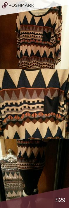 Button shoulder Navajo pocket long sleeve tunic Lightweight sweater.  Great with boots and leggings! Sweaters