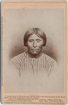 Photographs of captured Modoc warriors taken by Louis Herman Heller (1839-1929) during and after the The Modoc War.