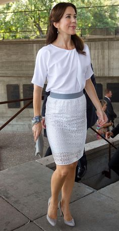 Perfection! Soft blouse, sleek pencil skirt with delicate overlay, and classy heels.