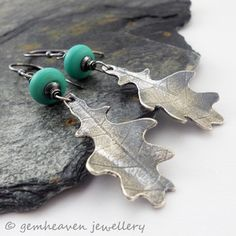 Free Falling sterling silver leaves with green lampwork
